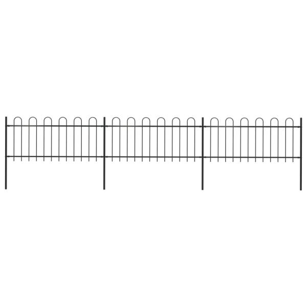 Trädgårdsstaket med böjd topp stål 5,1x0,8 m svart