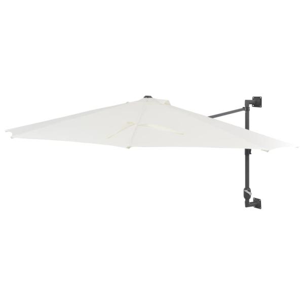 Väggmonterat parasoll med metallstång 300 cm sand
