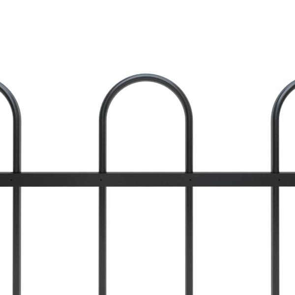 Trädgårdsstaket med böjd topp stål 8,5x1,2 m svart