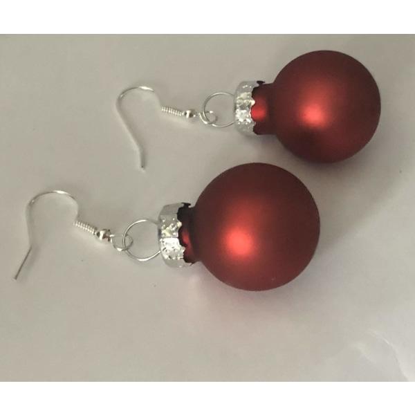 Silver Örhängen till Jul / Christmas - Röda Matta Julkulor Röd