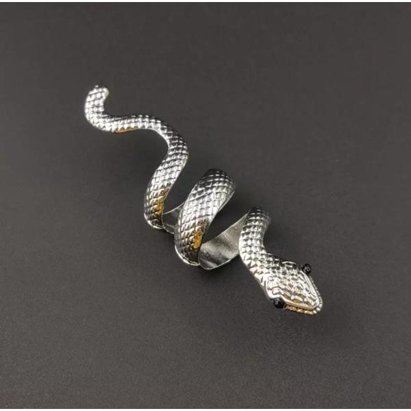Unik Silver Ring med Mönstrad Orm med Svarta Ögon - Justerbar Silver one size