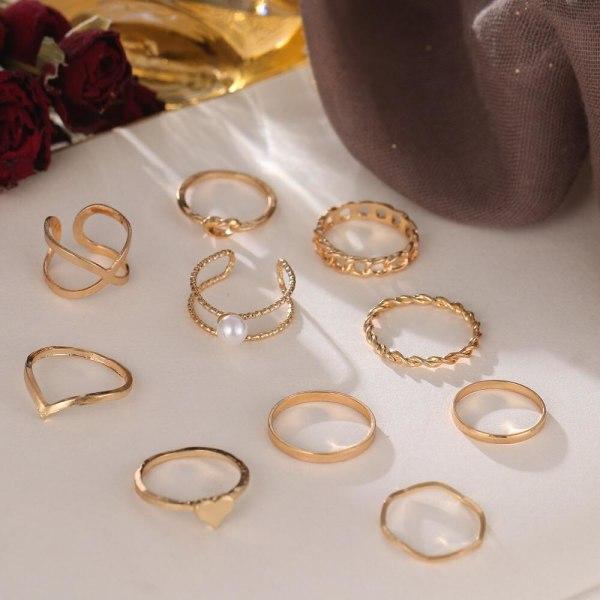 10-pack Boho Guld Ringar - Släta, Mönster, Hjärta & Vit Pärla Guld