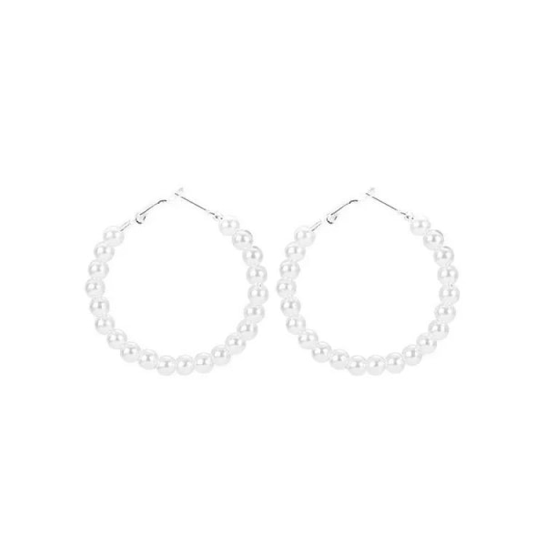 Silver Hoop Örhängen med Vita Pärlor / Trendiga Pärlörhängen  Silver
