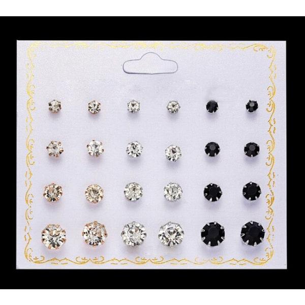 12 par Stud Örhängen - Guld & Silver - Vita & Svarta Kristaller Silver