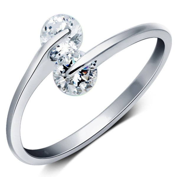 Silver Ring med Vit CZ Cubic Zirkonia Kristall - Justerbar Silver one size