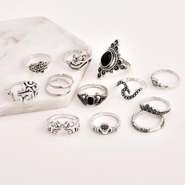 13-pack Boho Antik Silver Ringar - Svarta Pärlor & Elefant Silver