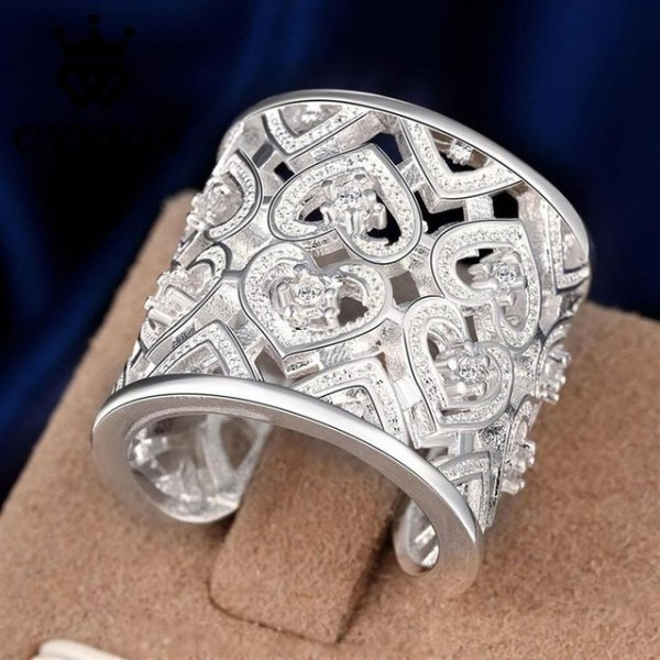 Bred Silver Ring - Hjärtan & CZ Kristaller - Justerbar Silver one size