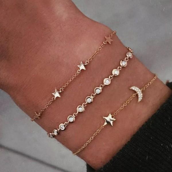 3 st Guld Armband med Stjärnor, Måne & Vita Rhinestones / Strass Guld