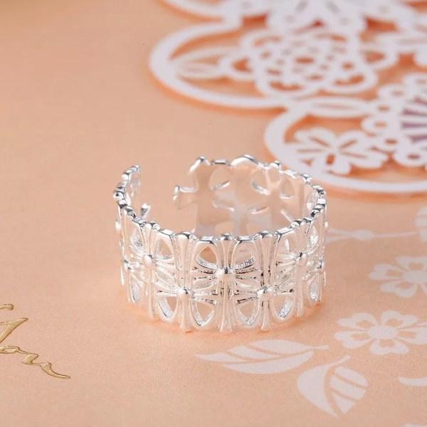 Silver Ring med ett Fint Mönster - Justerbar Silver one size