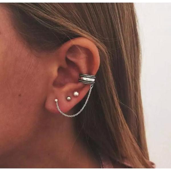 3 st Silver Örhängen - Stud Kulor & Ear Cuff 2i1 med Kedja Silver