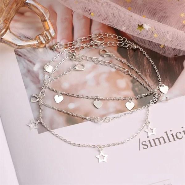 3 st Silver Fotsmycke Fotlänk Vristlänk - Hjärta & Stjärna Silver