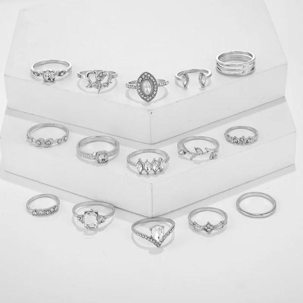15-pack Boho Silver Ringar - Vita Rhinestones, Släta & Mönstrade Silver