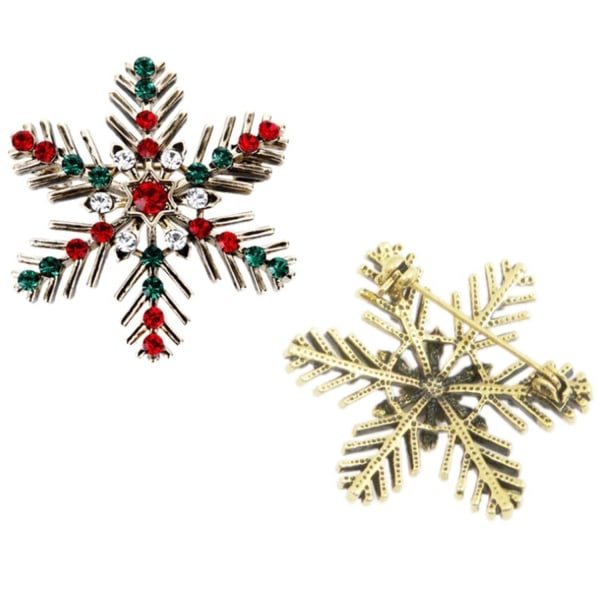 Brons Brosch till Jul / Christmas - Snöflinga med Rhinestones Brons