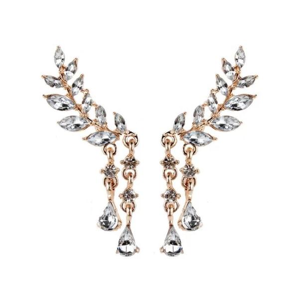 Rosé Guld Örhängen - Löv / Blad med Droppar & Vita Rhinestones Rosa guld