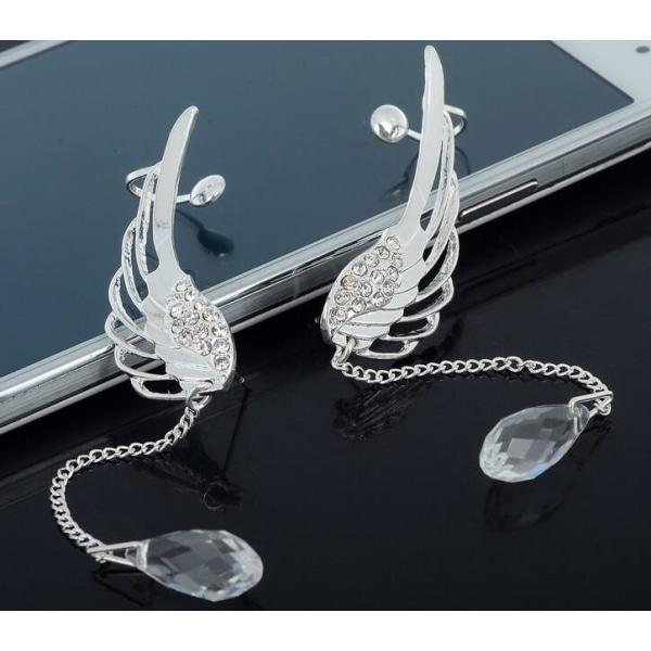 Silver Örhängen / Ear Cuff med Änglavingar, Rhinestones & Kedja Silver