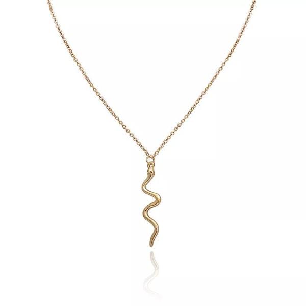 Guld Halsband - Hänge i form av Snirklig Blank Orm / Snake  Guld