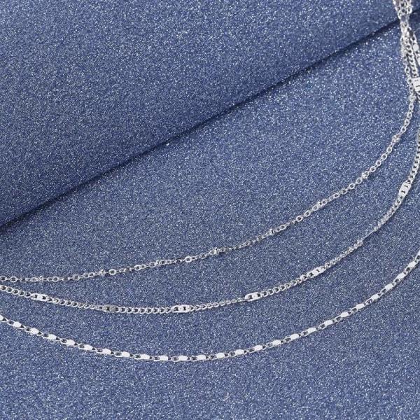 Silver Halsband / Choker med 3 Enkla, Olika och Tunna Kedjor Silver