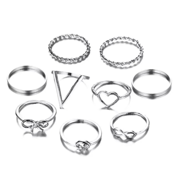 9-pack Silver Ringar -Släta Blanka, Tvinnade, Hjärta & Infinity  Silver