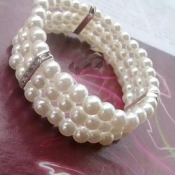 Pärlarmband - Armband med Vita Pärlor & 3 rader med Strass     Vit