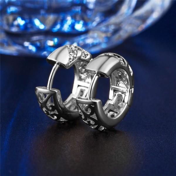 Silver Hoop Örhängen med Lila CZ Kristaller & Fint Mönster Silver