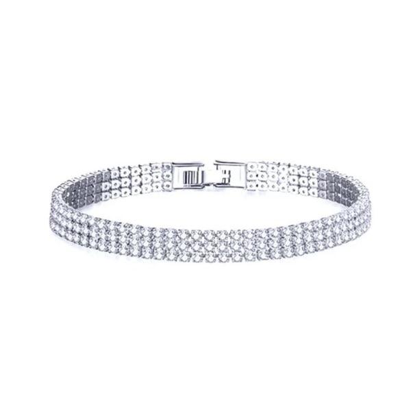 Glittrigt Strass Silver Armband - 3-radigt med Vita Rhinestones  Silver