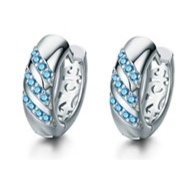 Silver Hoop Örhängen med Turkos CZ Kristaller & Fint Mönster Silver