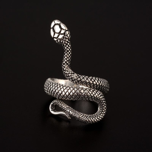 Unik Silver Ring med Mönstrad Orm med Svart Mönster - Justerbar Silver one size