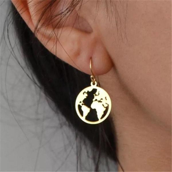 Hängande Guld Örhängen med Världskarta/Världen/Jorden/Jordglob Guld
