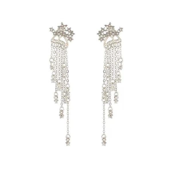 Unika Silver Örhängen - Stjärnor med Kedjor & Vita Rhinestones Silver