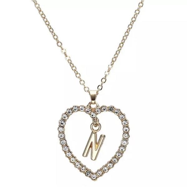 Guld Bokstavshalsband & Vit CZ Kristall - Halsband & Bokstaven N Guld