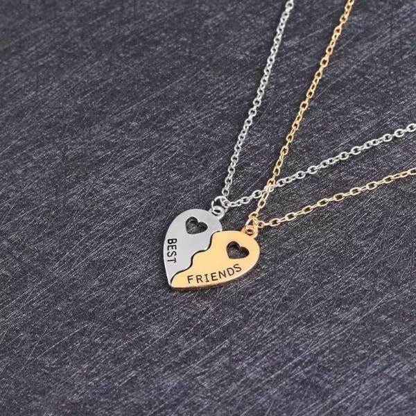 Best Friends Kompis - 2 Silver & Guld Halsband - Hjärta Guld