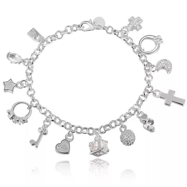 Silver Armband med Berlocker / Hjärta Stjärna Kors Måne Ring Silver