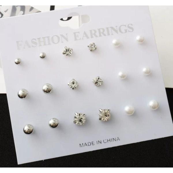 9 par Stud Örhängen - Silver Kulor, Vita CZ Kristaller & Pärlor Silver