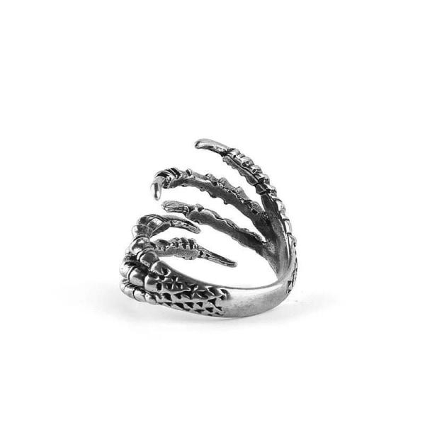Antik Silver Ring med Drakklo Örnklo / Drake Örn Klo - Justerbar Silver one size