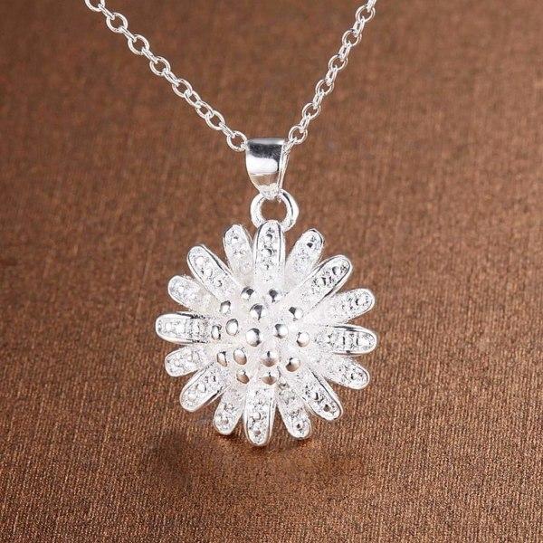 Elegant Silver Halsband - Blomma / Krysantemum  Silver