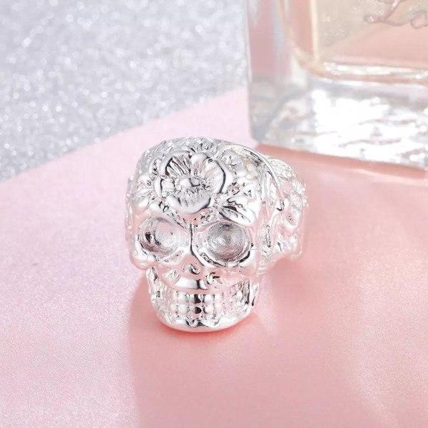 Unik Silver Ring med en Döskalle / Dödskalle - Justerbar Silver one size