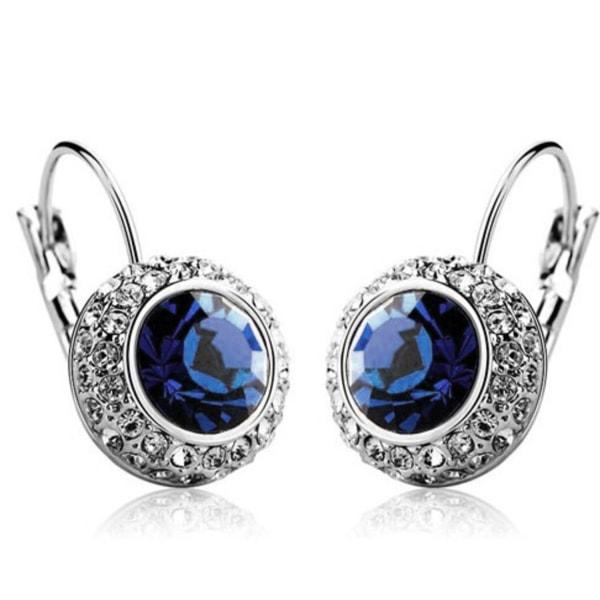 Silver Hoop Örhängen - Rund Glittrande Mörk Blå CZ Kristall Mörkblå