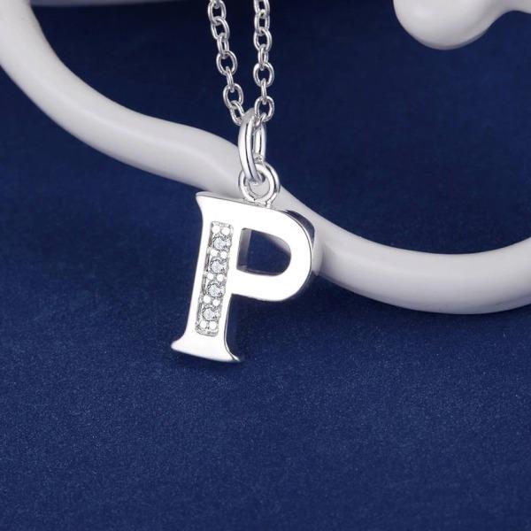 Silver Bokstavshalsband & CZ Kristall - Halsband med Bokstaven P Silver