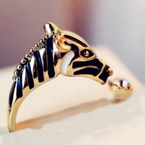 Unik Guld Ring - Zebra med Svarta Ränder & Rhinestone -Justerbar Guld one size