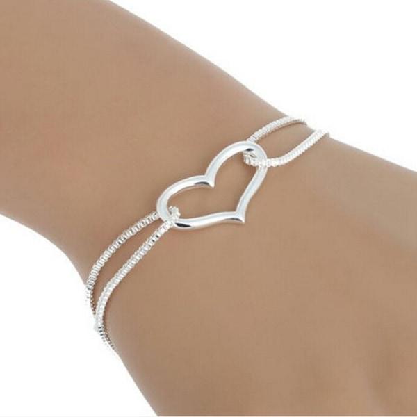 Silver Armband med Enkelt Hjärta / Heart - Stilren Design Silver