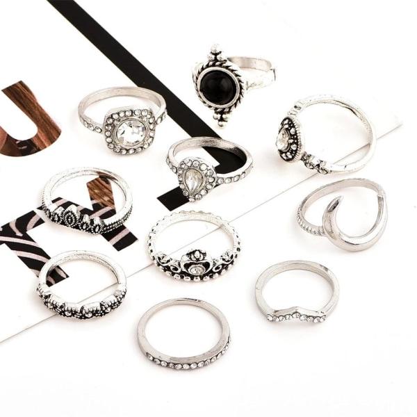 10-pack Boho Antik Silver Ringar -Svarta Pärlor & Vit Rhinestone Silver