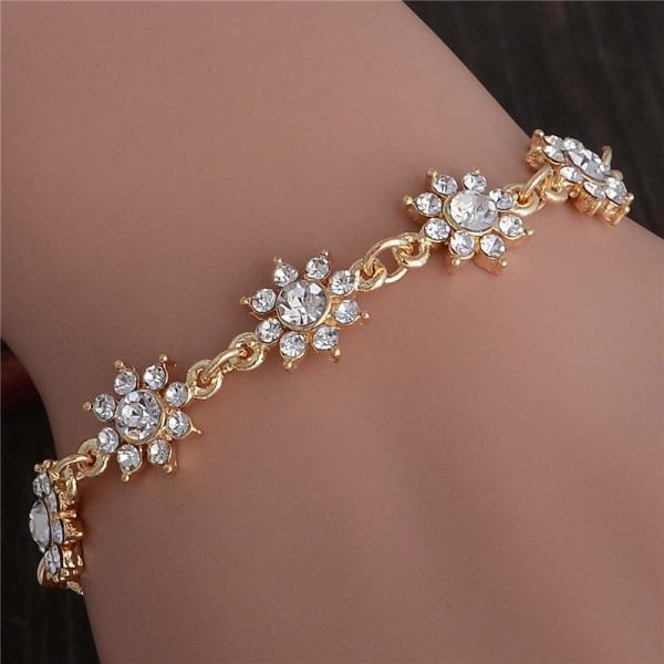Guld Armband - Blommor med Vita CZ Kristaller - Guldpläterat Guld