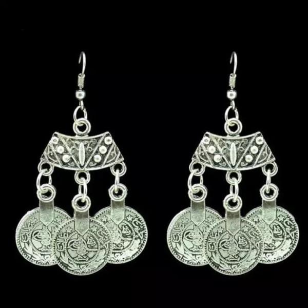 Bohemiska Retro Örhängen i Antik Silver i Etniskt Mönster Silver