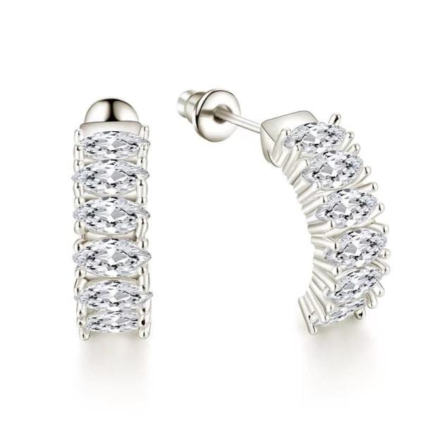 Silver Örhängen med en rad Strass Stenar / Vita CZ Kristaller Silver