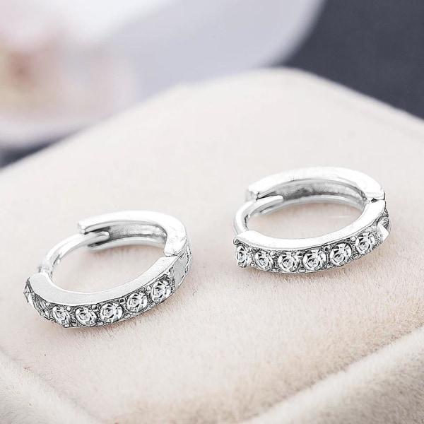 Glittrande Silver Örhängen - Hoop med Vita CZ Kristaller  Silver