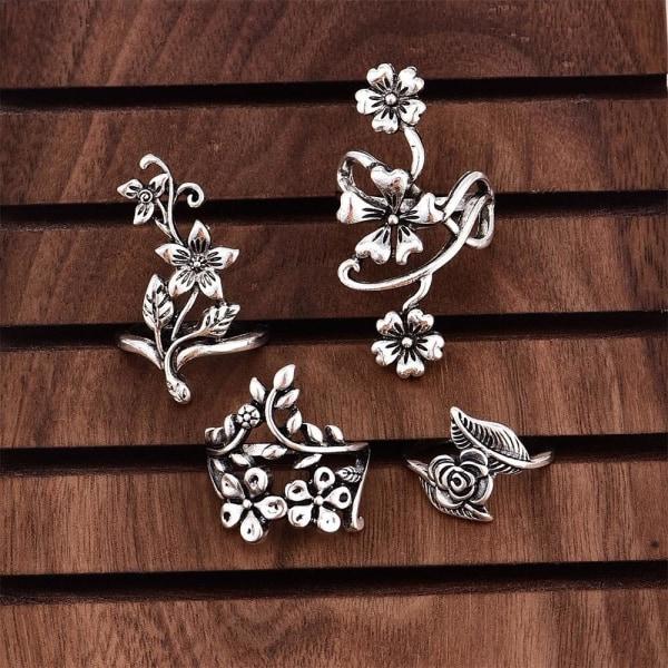4-pack Boho Antik Silver Ringar - Slingrande Blommor & Blad Silver