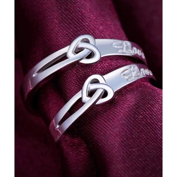 2 st Silver Ringar/  Parringar / Förlovningsringar - Justerbara Silver one size