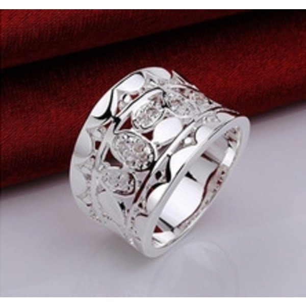 Vintage Bred Silver Ring med Vita CZ Kristaller - Stl 17,3 Silver