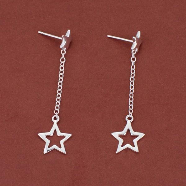Långa Silver Örhängen med Hängande Stjärna / Star  Silver