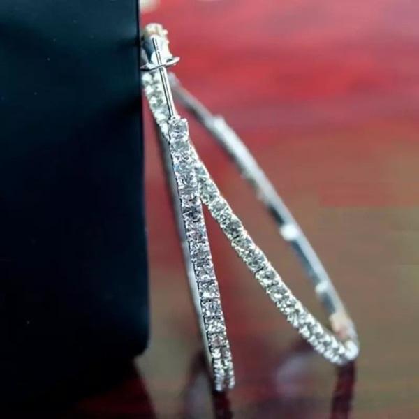 Glittrande Silver Örhängen - Hoop med Strass / Vita Rhinestones Silver